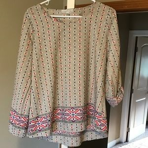 Long Sleeve Beige Top with Multicolored Pattern